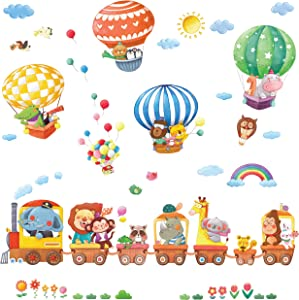 DECOWALL DS-8006P8024 Animal Train and Hot Air Balloons Kids Wall Stickers Wall Decals Peel and Stick Removable Wall Stickers for Kids Nursery Bedroom Living Room (Small) décor