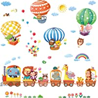 DECOWALL DS-8006P8024 Animal Train and Hot Air Balloons Kids Wall Stickers Wall Decals Peel and Stick Removable Wall Stickers for Kids Nursery Bedroom Living Room (Small)