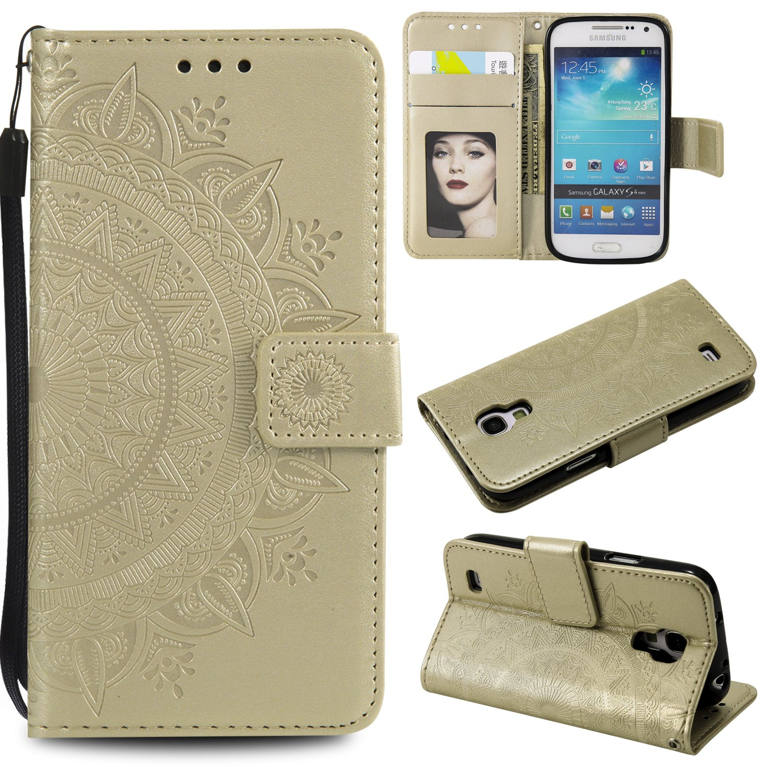 Galaxy S4 Mini Floral Wallet Case,Galaxy S4 Mini Strap Flip Case,Leecase Embossed Totem Flower Design Pu Leather Bookstyle Stand Flip Case for Samsung Galaxy S4 Mini-Gold