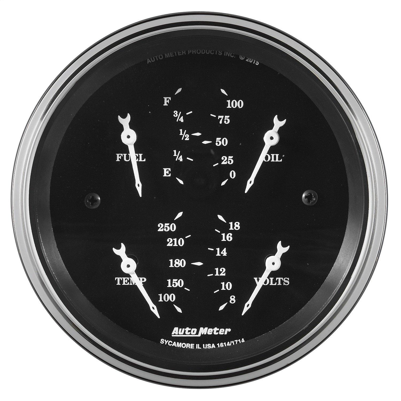 Auto Meter AutoMeter 1714 Gauge, Quad, 3 3/8'', 0Ωe-90Ωf, Elec, Old TYME Black