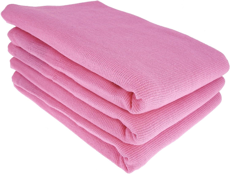 3 x – Trapo/Paño de cocina y gamuza de limpieza/100% algodón rosa ...