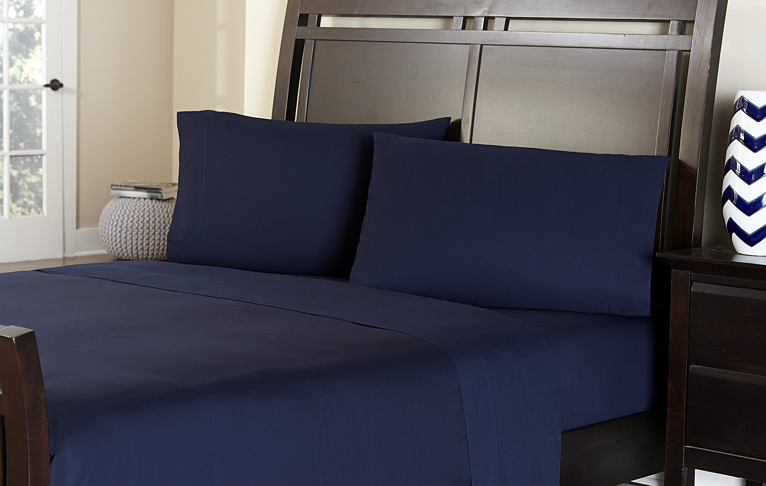 Welspun Amaze 310 Thread Count Ultimate Performance Cotton Sheet Set, Full, Navy Blue