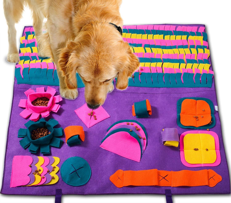 PATIO PLUS Alfombra Olfativa Perros, Grande 90 x 90cm Snuffle Mat para Perros Alfombrilla para Perros, Alimentación de Mascotas