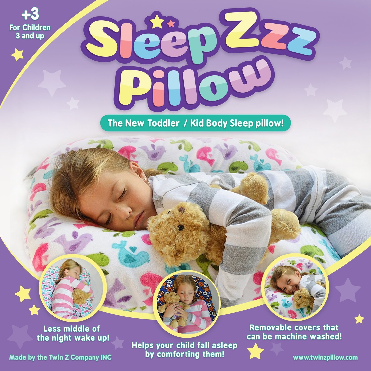 Sleep Zzz Bedtime Pillow w/ removable washable cover by One Z Pillow