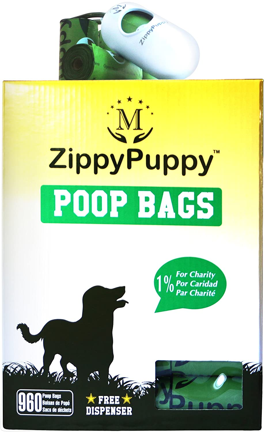 960 Unscented Bags with Dispenser 960 Biodegradable Dog Poop Bags with Stylish Universal Dispenser ( 5.99 Value Included) with 64 Refill Rolls. Bags are 15 Microns Thick and Strong. ZippyPuppy (Trademarked) Pet Pooper Scooper Bags are Large, Extra Strong