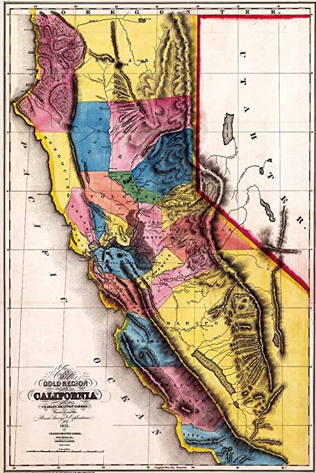 Antiguos Maps Map Of California Gold Rush Region Circa 1851 Measures 24 High X 36 Wide 610mm High X 915mm Wide