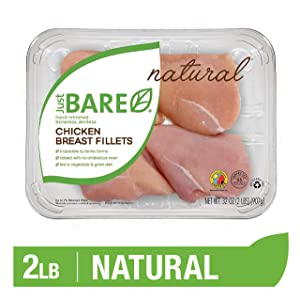 Just BARE Natural Fresh Chicken Breast Fillets | Family Pack | Antibiotic Free | Boneless | Skinless | 2.0 LB