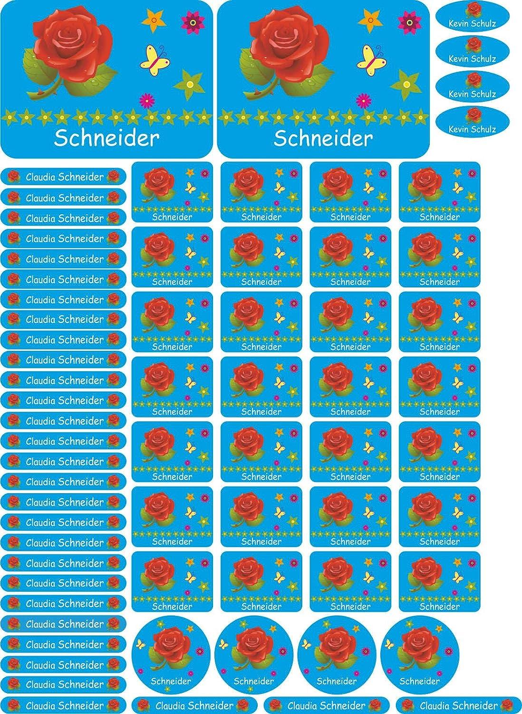 JINTORA Nome adesivo / Etichette adesive personalizzate per quaderni, libri e Materiale scolastico - DIN A4 - 064 - Rose - 69 Autocollants en plusieurs tailles pour votre enfant, à l'école, stylos d'ordinateurs portables à l' école