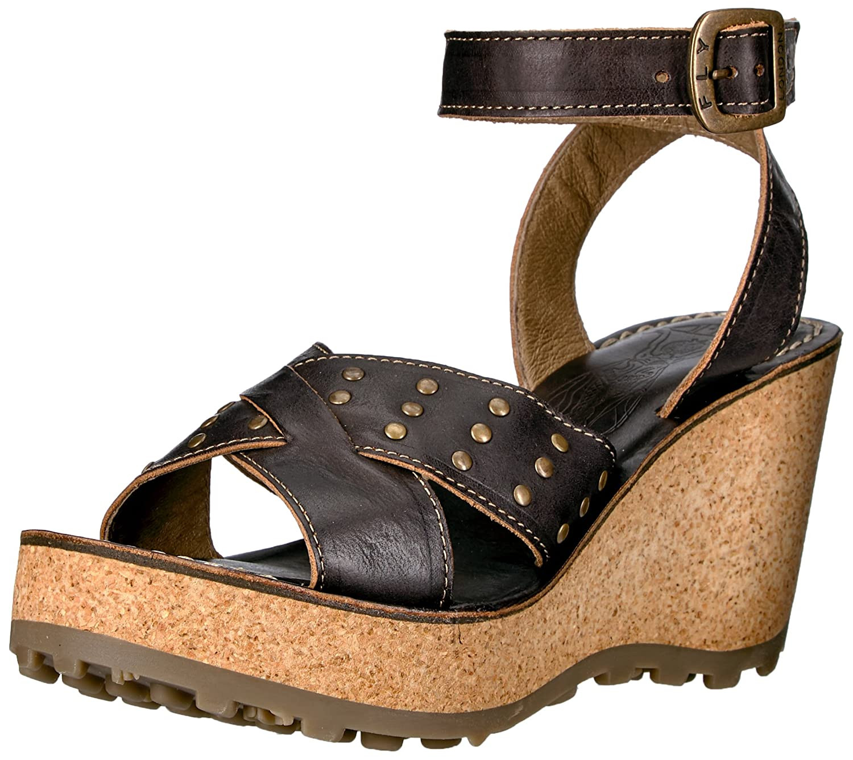 FLY London Women's Gia864fly Wedge Sandal B01MAUK37K 41 EU/10-10.5 M US|Black Sebta