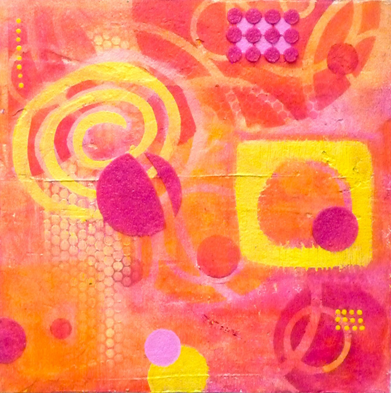 Original Abstract Acrylic Painting on Canvas. DRIVE IN MOVIE One-Of-A-Kind abstract, contemporary painting in orange, red, pink and yellow. Handmade with love in San Francisco by Tesia Blackburn.