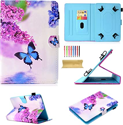 Dteck 7 Inch Universal Tablet Case Stand Wallet Case for Samsung Galaxy Tab// kindle fire 7.0 2015 2017// Huawei Mediapad//Google and More 6.5-7.5 inch Tablet Purple Butterfly