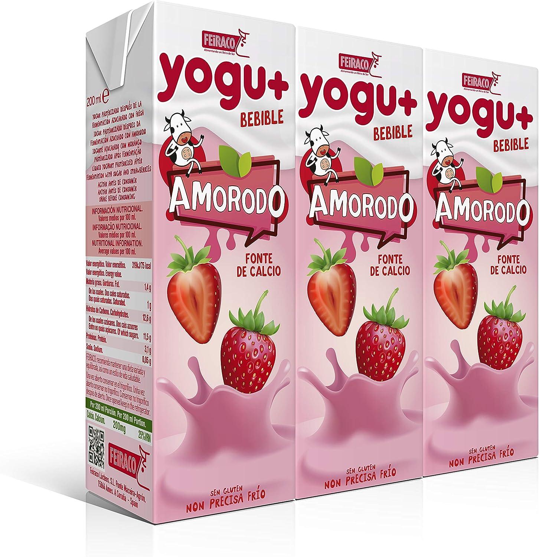 Feiraco Yogu+ Azucarado con Fresa - Paquete de 8 packs de 3x200 ml - Total: 4800 ml