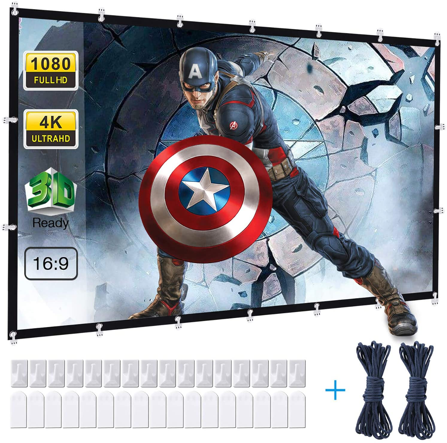 Powerextra Projector Screen, 120 inch 16:9 HD Foldable Anti-Crease Portable Washable Projection Screen for Home Theater Outdoor Support Double Sided Projection