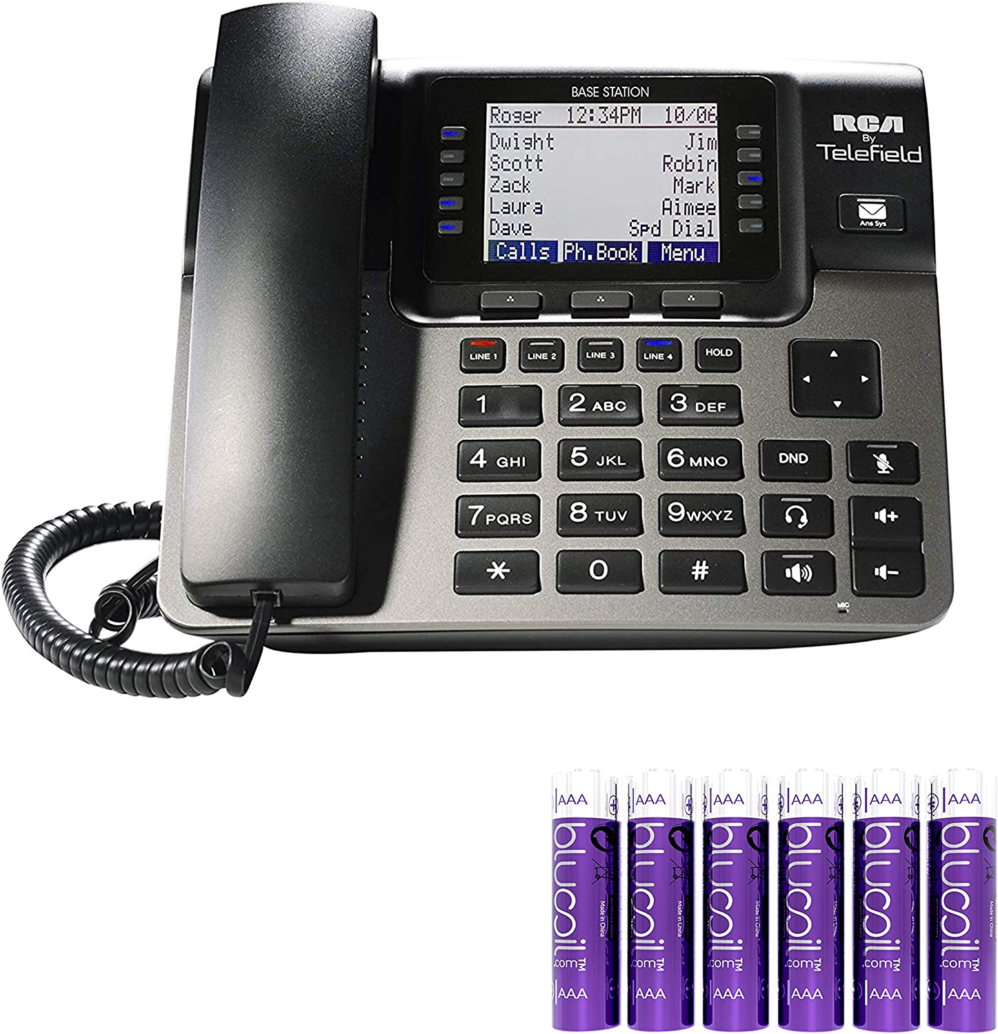 RCA U1100 Unison Wireless Deskphone - 4 Line Phone Systems for Small Business with Digital Receptionist Bundle with 6 Blucoil AAA Batteries