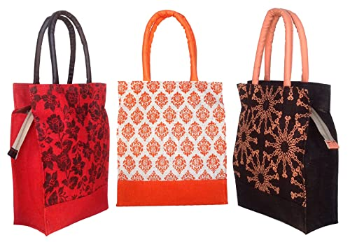 65b657a55d Foonty Daily Use Women Jute Lunch Bags(Combo of 3, Multicolour,5023 ...