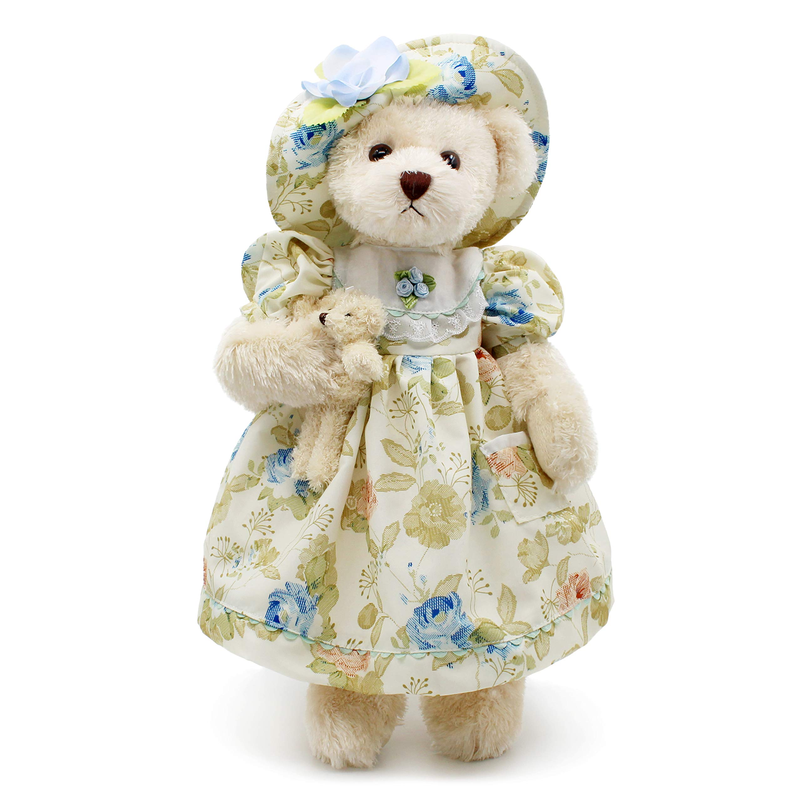 Oitscute Teddy Bears Baby Cute Soft Plush Stuffed Animal Toy for Girl Women 16'' (White Bear Wearing Green Floral Dress) by oits cute