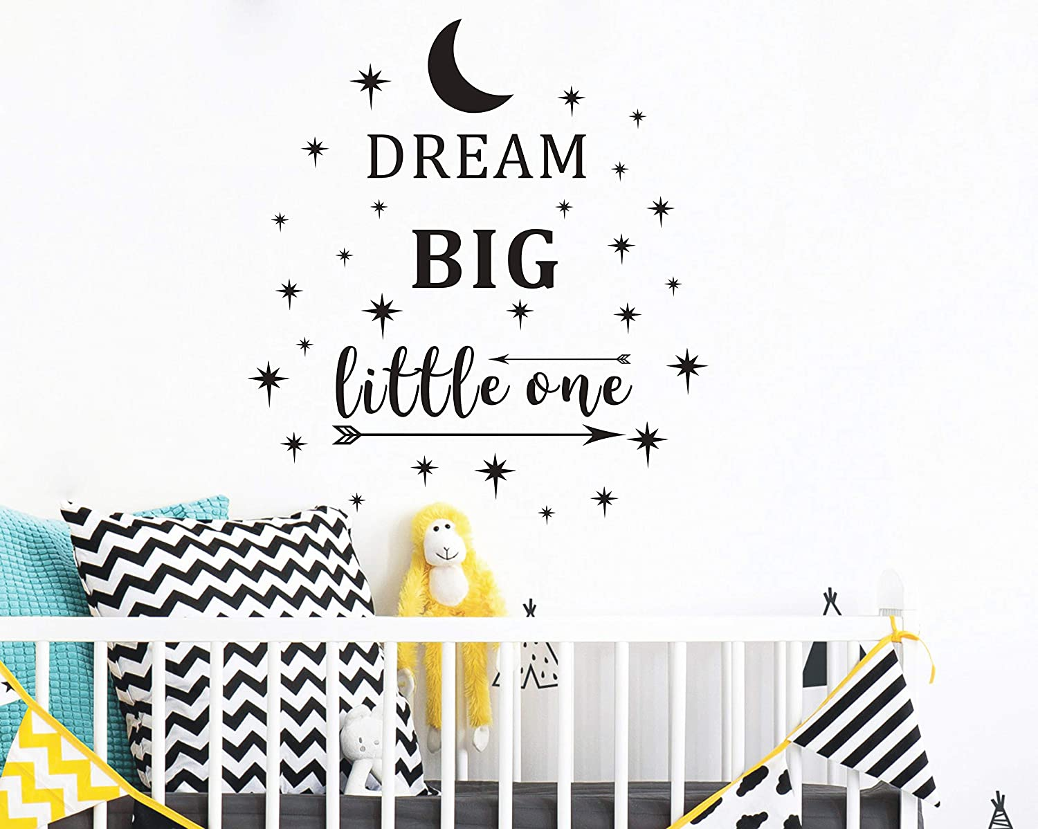 Dream Big Little One Wall Decal, Wall Sticker Quote, Nursery Wall Decal, Removable Vinyl Stickers for Children Baby Kids Boy Girl Bedroom (A24) (Black) Yystore