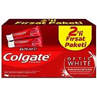 Colgate Optik Beyaz Parıldayan Beyazlık Beyazlatıcı Diş Macunu 75 ml +75 ml 1 Paket (1 x 150 ml)