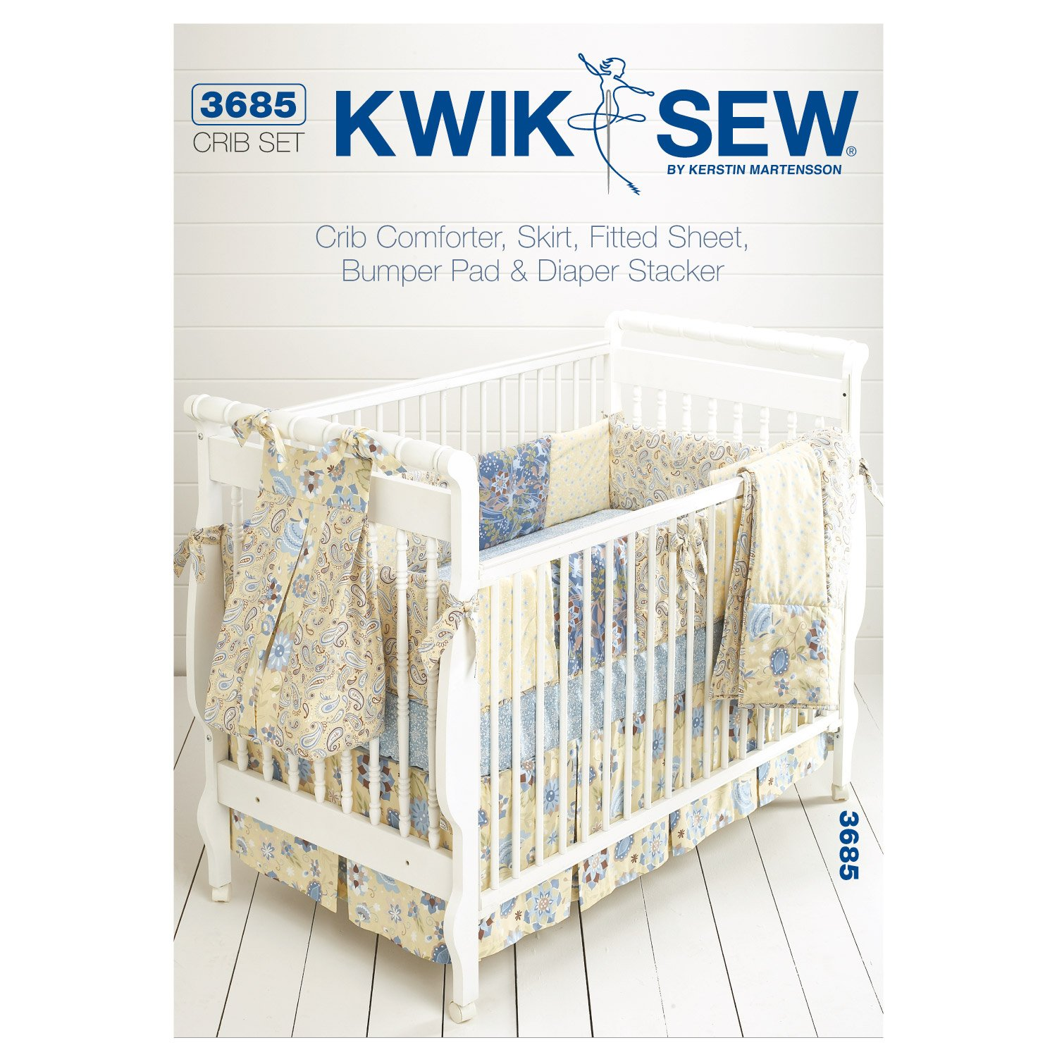 Kwik Sew Crib Comforter, Skirt, Fitted Sheet, Bumper Pad & Diaper Stacker Pattern KP-3685