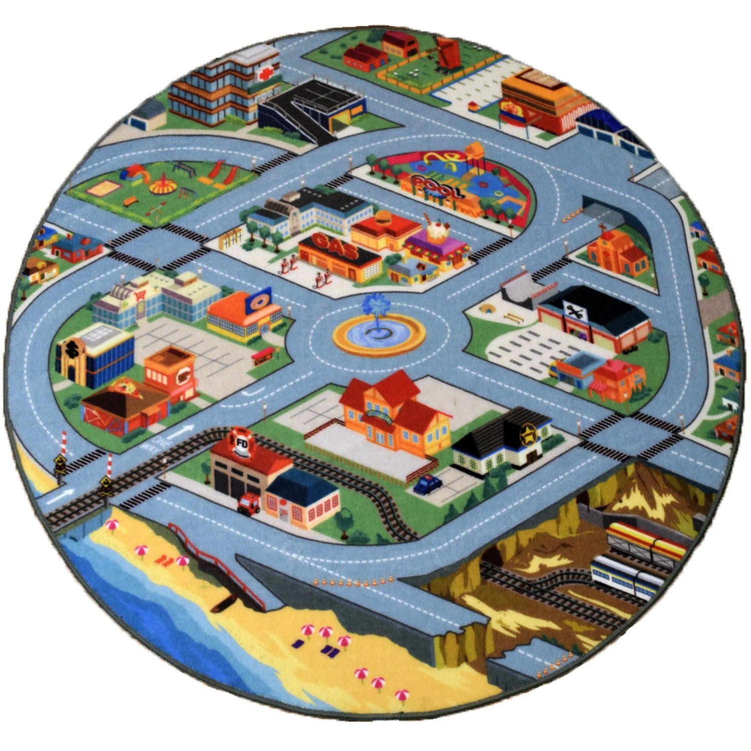 Creative QT Kid's Play Rug - Funfield City 51 inch Road Non-Slip Carpet for Cars and Toys - Round Activity Educational Colorful Fun Traffic Playmat for Children, Boys, and Girls