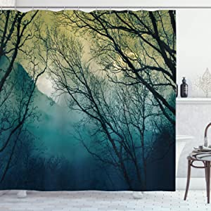 "Ambesonne Nature Shower Curtain, Surreal Morning in The Foggy Misty Forest Mountain Valley Habitat Themed Himalayan, Cloth Fabric Bathroom Decor Set with Hooks, 70"" Long, Petrol Blue"