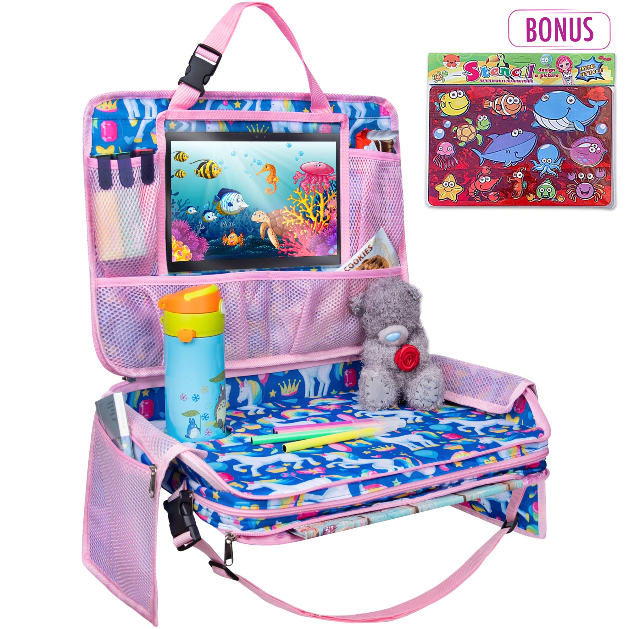 TravelMe Kids Travel Tray - Car Organizer Backseat Activity Station Snack Play Lap Tray with iPad Tablet Holder Detachable (Unicorn) by TravelMe