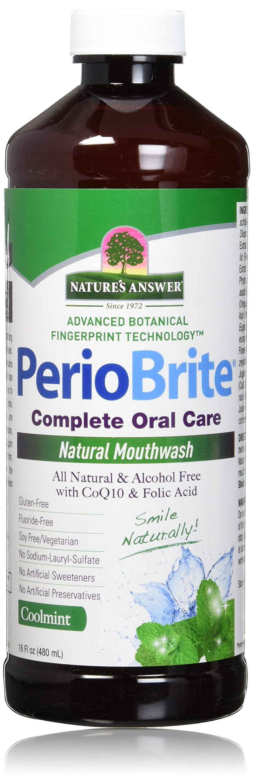 Nature's Answer Periobrite Alcohol-Free Mouthwash, Cool Mint, 16 Ounce, 2 Count