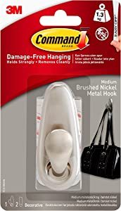 Command 3 lb Capacity Metal Hook, 1 hook, 2 strips, Indoor Use, Medium, Brushed Nickel (FC12-BN-ES)