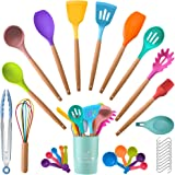 Numola 33 PCS Food Grade Non-Toxic Silicone Kitchen Gadget Utensils Set with Wooden Handle, Colourful Heat-Resistant Kitchen