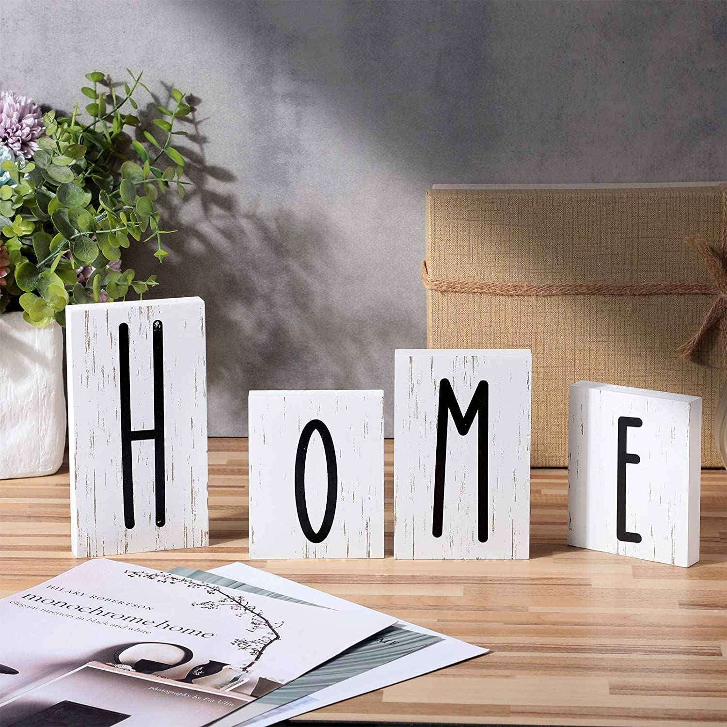 4 Pieces Home Sign Table Wood Block Freestanding Wooden Sign Decorations Home Letter Tabletop Wood Block for Home Living Room Party Table Decor Wall Decor