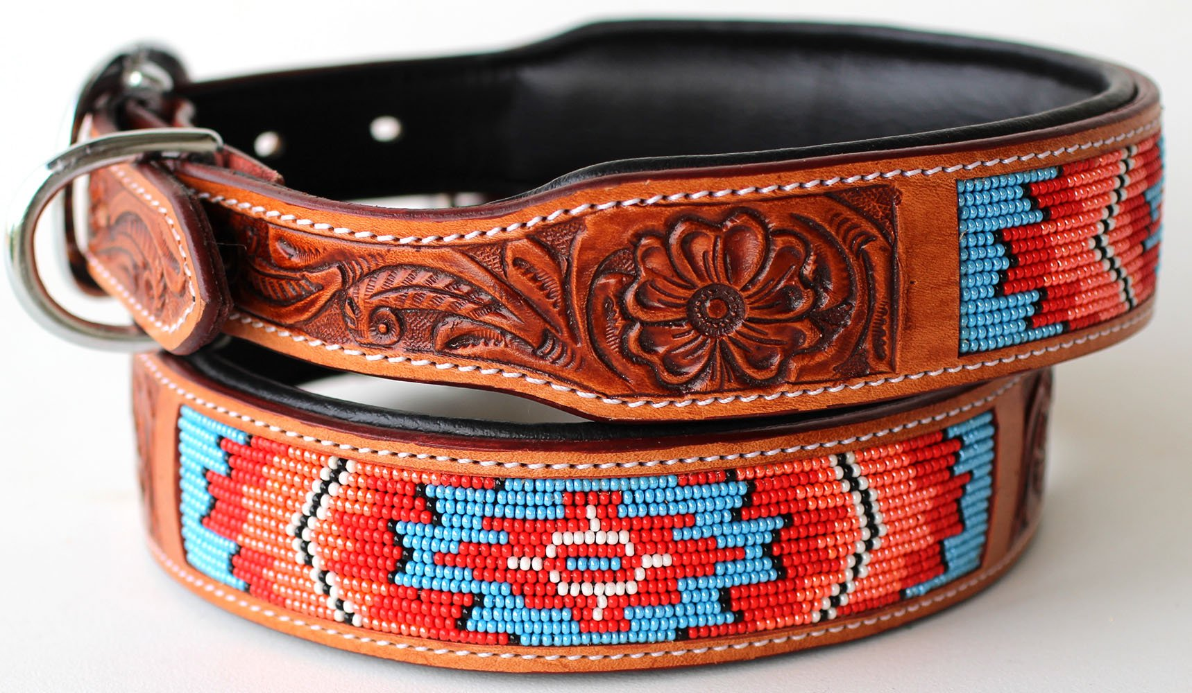 PRORIDER Medium 17''- 21'' Rhinestone Dog Puppy Collar Crystal Cow Leather 6053