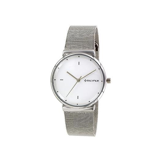 Reloj Bilyfer para Mujer con Correa Plateada y Pantalla en Blanco 3P559-BL: Amazon.es: Relojes