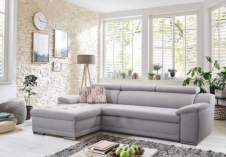 Cavadore Ecksofa Aniamo mit XL-Longchair rechts 270 x 80 x 165 cm Eckcouch mit Kopfteilfunktion im modernen Design // Farbe Gr/ö/ße Hellblau BxHxT Sitzecke f/ür Wohnzimmer