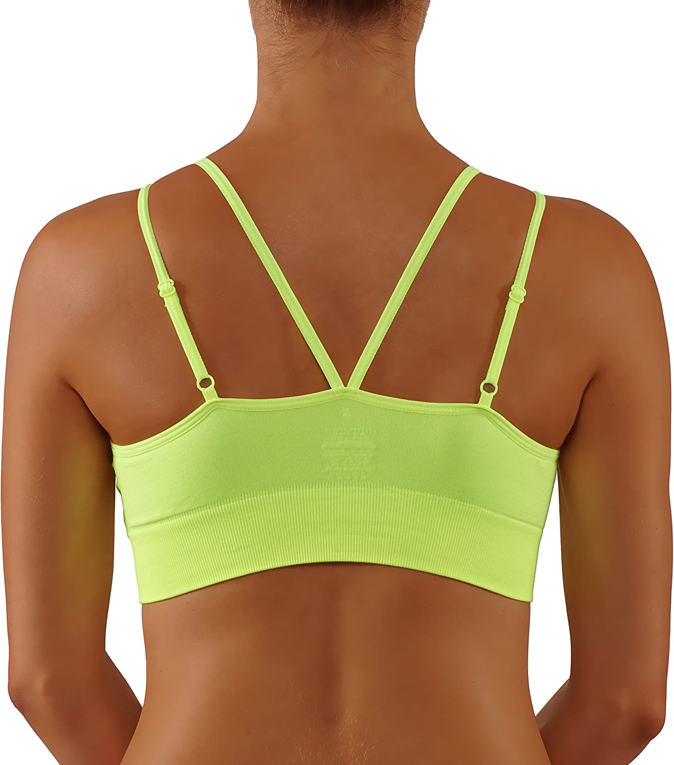 Bise Womens Yoga Bra with Criss Cross Adjustable Straps Medium Support Workout Top Sports and Fashion 2 in 1.