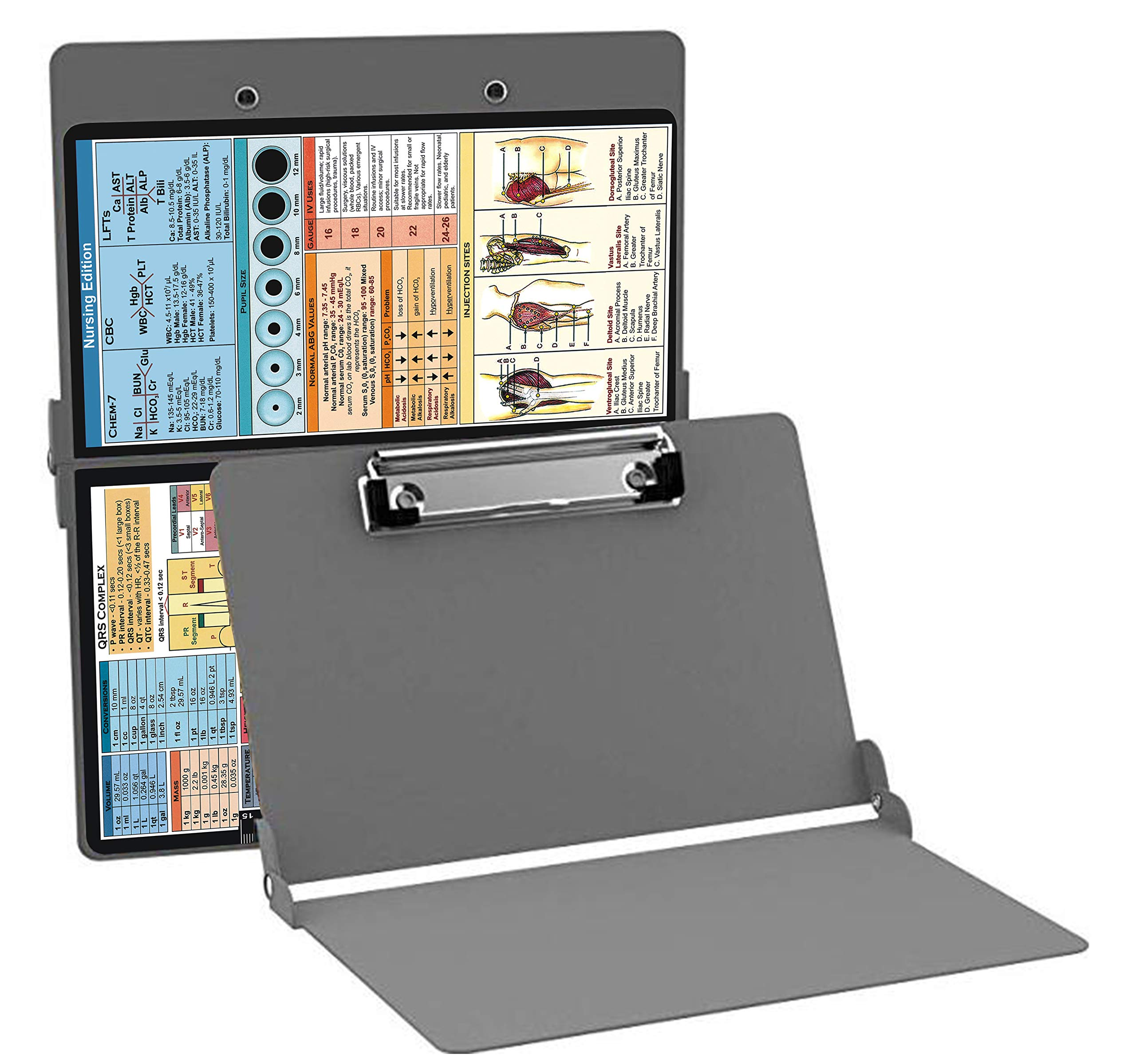 Nursing Clipboard Silver(Aluminum Clipboard Nursing Edition Silver) Foldable Clipboard Letter Size by PoneyChoice
