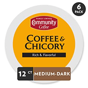 Community Coffee and Chicory Medium Dark Roast Single Serve 72 Ct Box, Compatible with Keurig 2.0 K Cup Brewers,Full Body Rich Flavorful Taste, 100% Arabica Beans