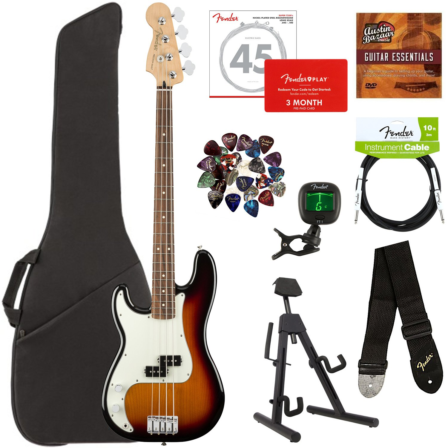 Fender Player Precision Bass Pau Ferro Left Handed 3 Accurate Tone Control Color Sunburst Bundle With Gig Bag Stand Cable Tuner Strap Strings Picks