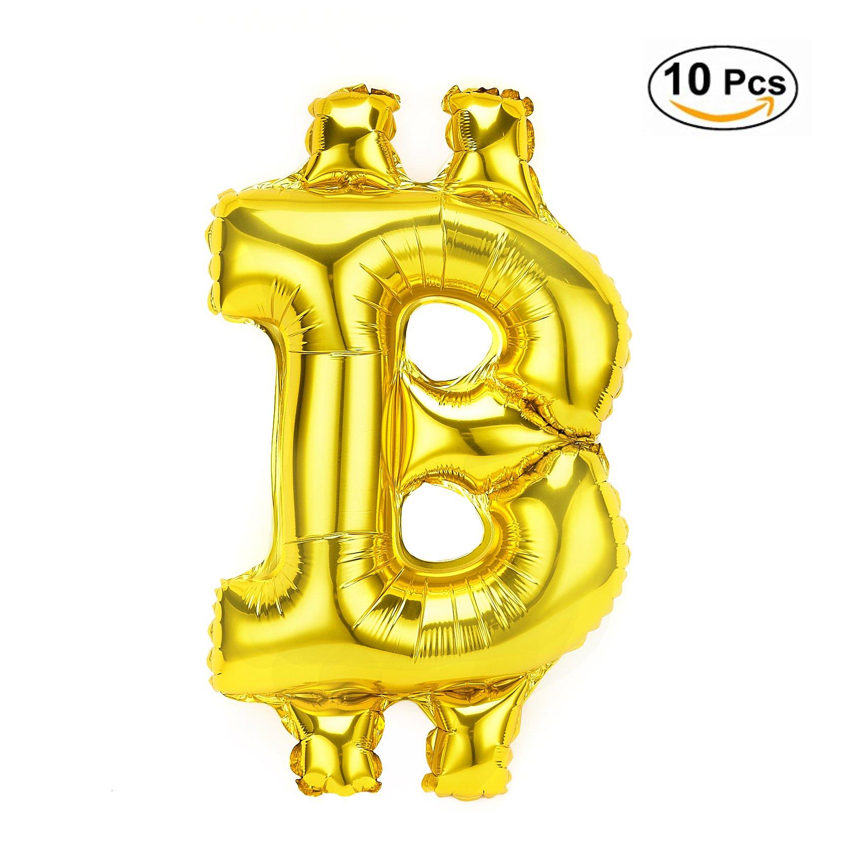 10 Pack Golden Aluminum Foil Bitcoin Balloon 18 Inch