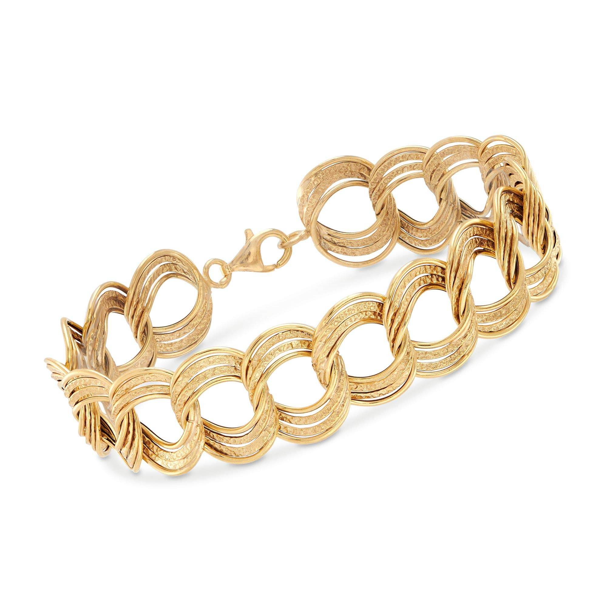 Ross-Simons Italian 14kt Yellow Gold Textured and Polished Circle-Link Bracelet