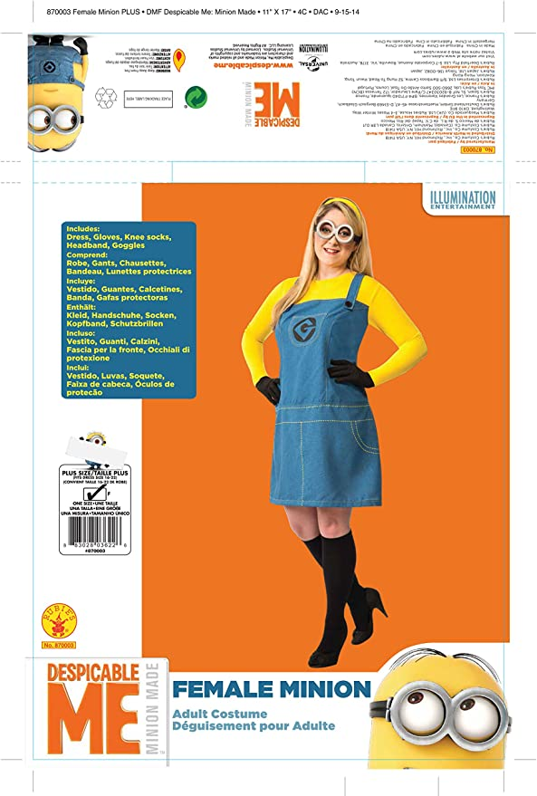 Amazon.com: Rubies Womens Despicable Me 2 Female Minion Costume, Multicolor, Plus: Toys & Games