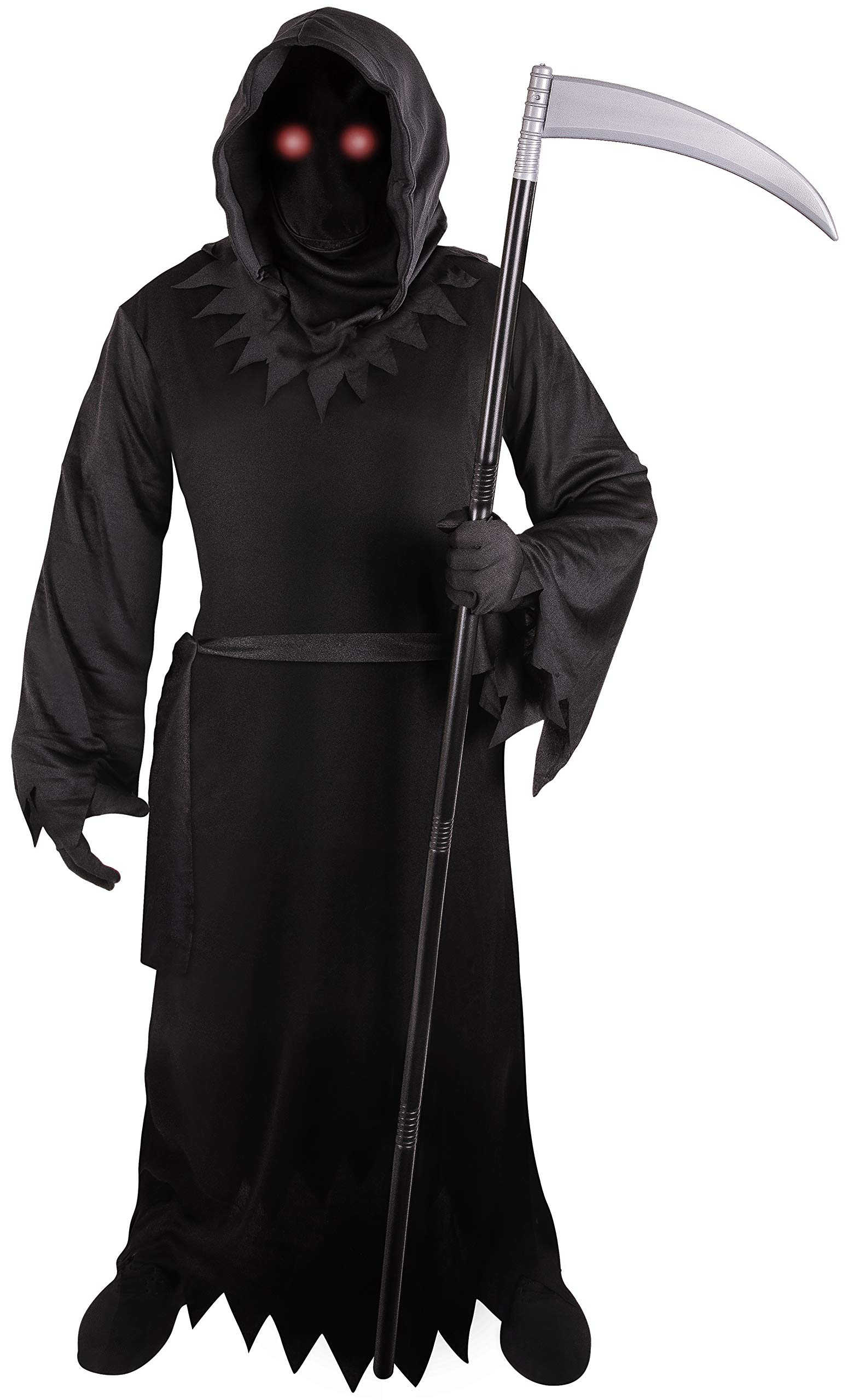 Grim Reaper Costume for Kids with Light Up Red Eyes (Medium (8-10) by K Brands