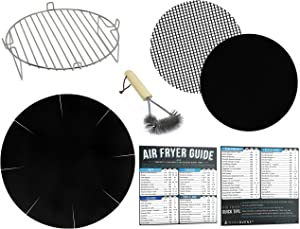 Air Fryer Rack Accessories Compatible with Ninja, Bella, BCP and More – Set of 7 with Heat Resistant Mat for Airfryer and Magnetic Cheat Sheets