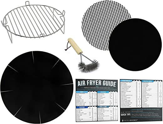 Air Fryer Rack Accessories Compatible with Ninja, Gowise, Farberware and More – Set of 7 with Heat Resistant Mat for Airfryer and Magnetic Cheat Sheets