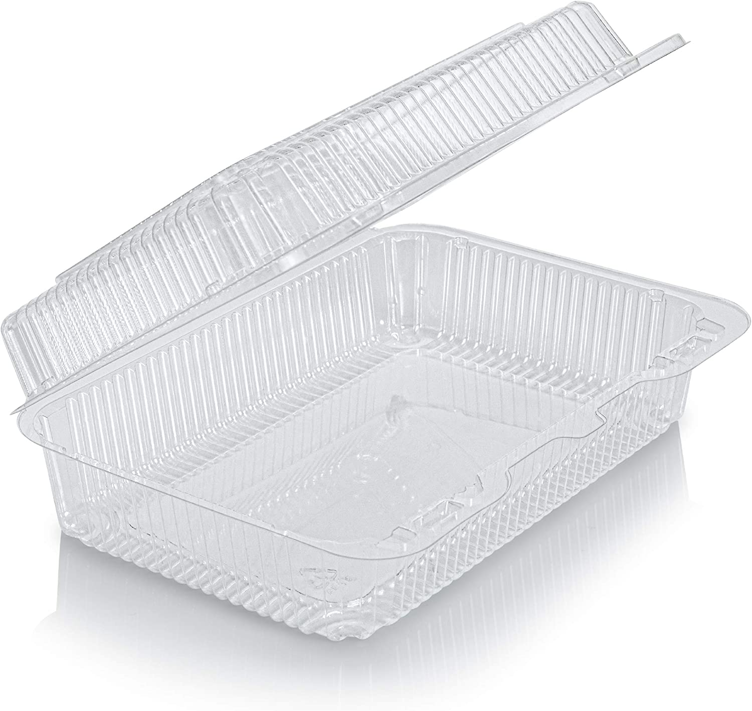 "Clear Plastic Hinged Food containers - Sturdy Disposable salad and bakery lid Container Boxes - 9.5""x 7""x3"" (40)"