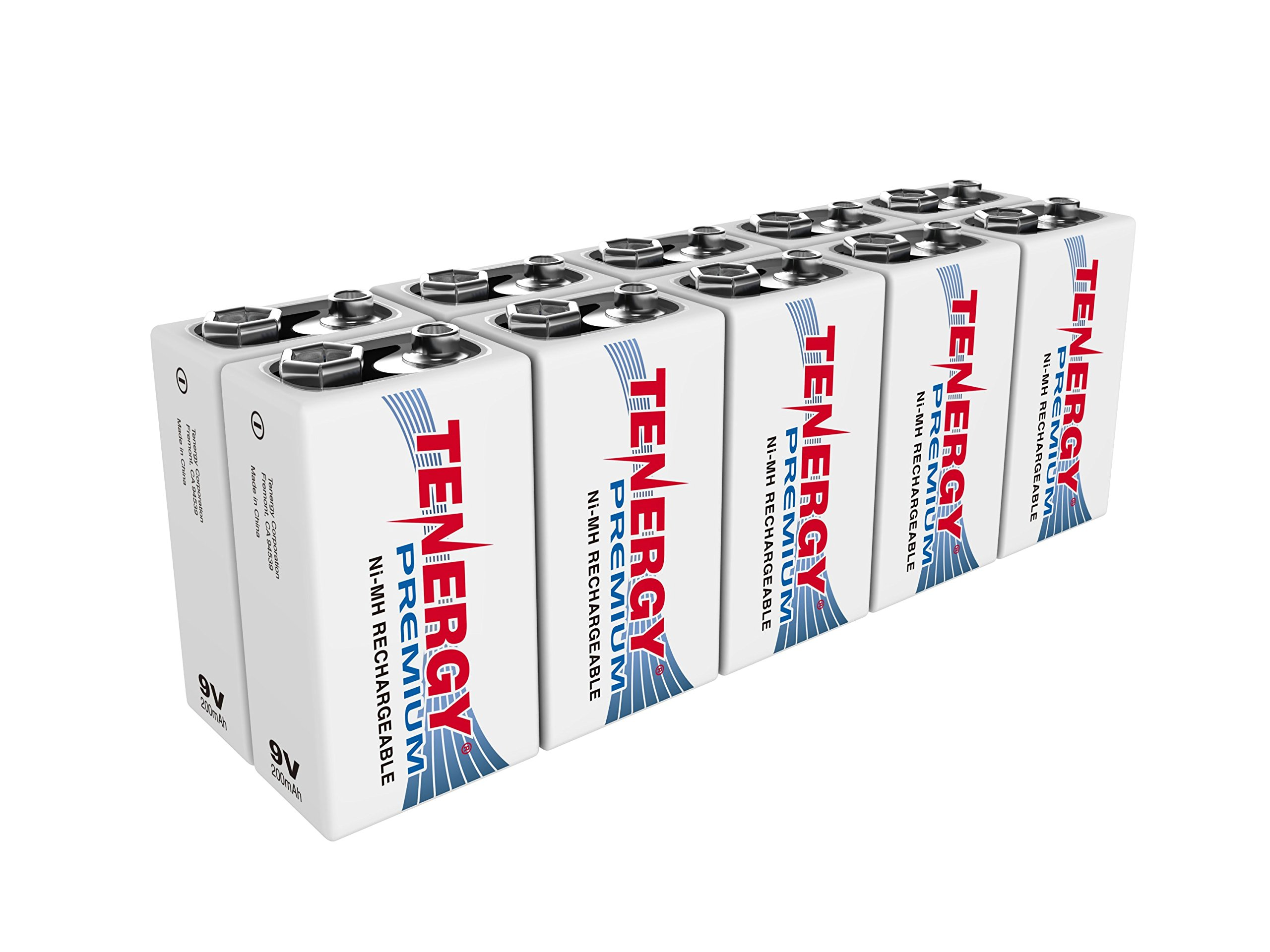 Tenergy Premium 9V Batteries Rechargeable High Drain 200mAh NiMH 9V Square Battery for Smoke Alarm/Detector, 10 Pack