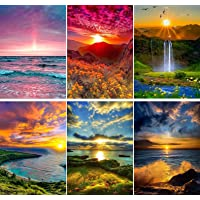 SIIYIX 6 Sets 5d Diamond Painting Art Dotz Paint by Numbers Kits Full Drill for Adult Kids Sunset Sea Mountain Waterfall…