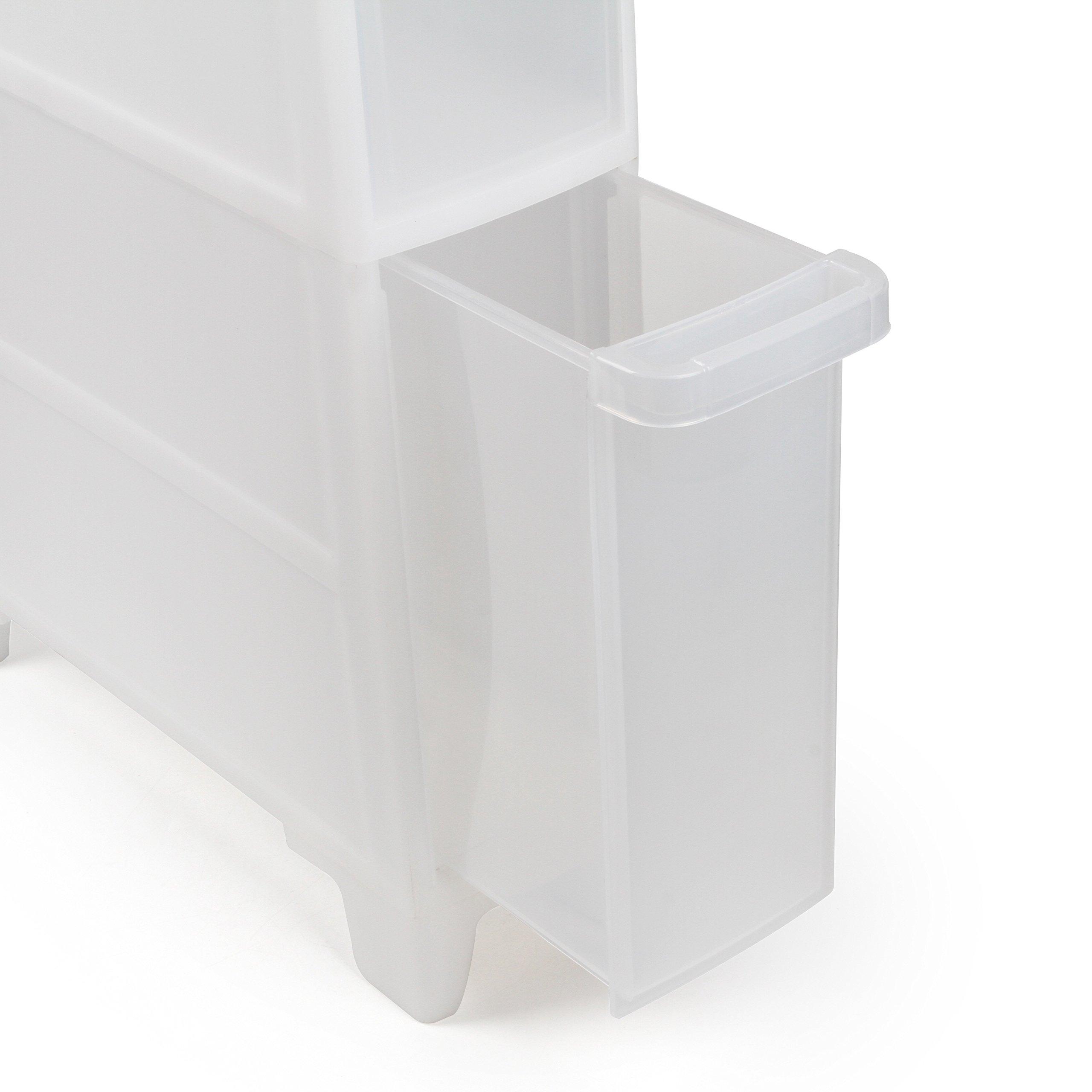 Asvert 4 Tier Storage Cart Slide Out Drawer Tower for Laundry Bedroom Bathroom Kitchen