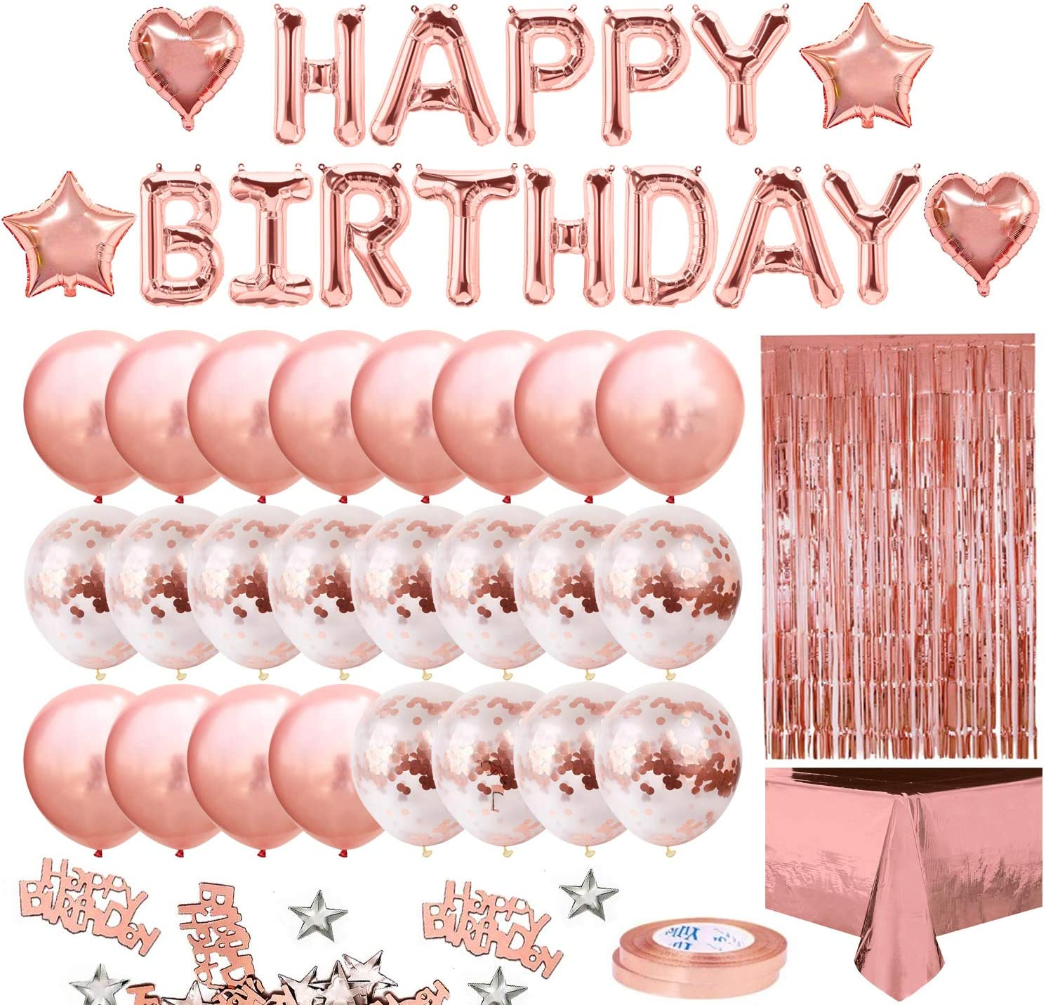 MOVINPE Rose Gold Birthday Party Decoration, Happy Birthday Banner, Rose Gold Fringe Curtain, Foil Tablecloth, Heart Star Foil Confetti Balloons, 10g Table Confetti for Women Girl Birthday Party