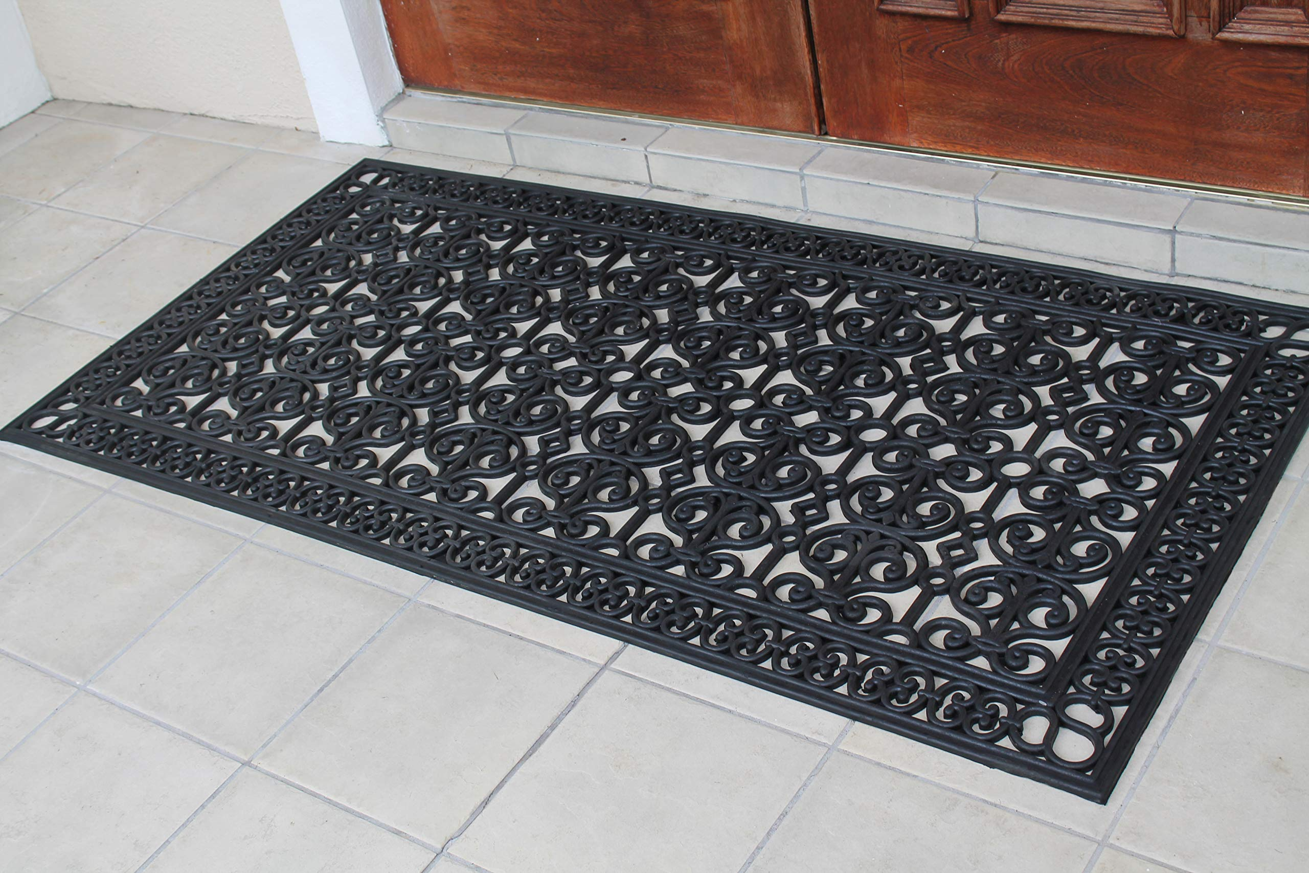 A1 Home Collections A1HCCL68 Doormat A1HC First Impression Rubber Paisley, Beautifully Hand Finished,Thick, 36X72, Black Estate 36'' X 72'' by A1 Home Collections (Image #2)