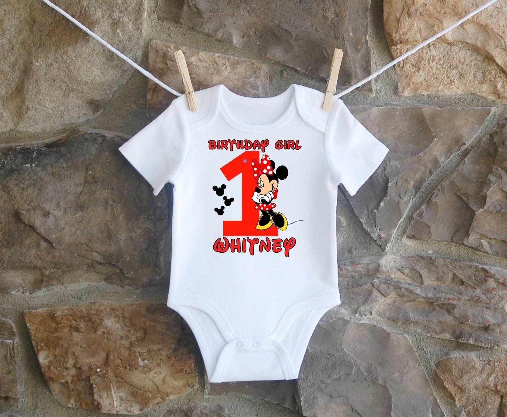 Minnie Mouse Birthday Shirt, Minnie Mouse Birthday Shirt For Girls, Personalized Girls Red Black Minnie Mouse Birthday Shirt, Customized Minnie Mouse Birthday Shirt